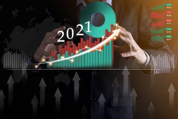 Plan een positieve bedrijfsgroei in het concept van het jaar 2021