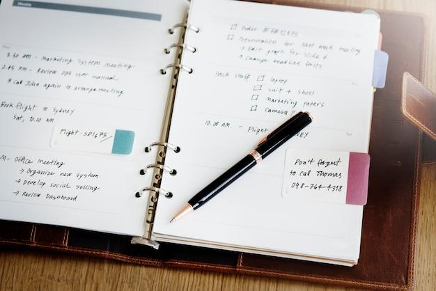 Plan memo diary to do list concept