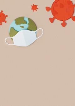Planeet aarde draagt een papieren ambachtelijk gezichtsmasker tijdens de pandemie van het coronavirus