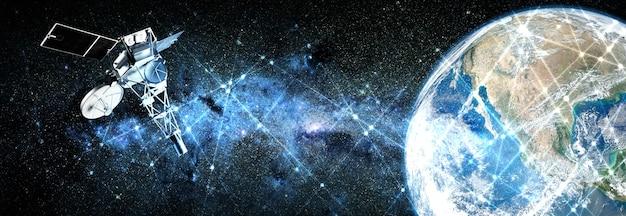 Planeet aarde en satelliet op ruimte achtergrond. elementen van deze afbeelding geleverd door nasa.