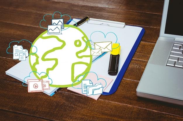 Planeet aarde getrokken en papers