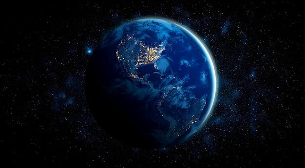 Planeet aarde globe uitzicht vanuit de ruimte met realistisch aardoppervlak en wereldkaart