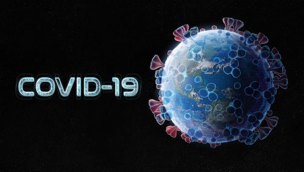 Planeet aarde in de vorm van het coronavirus in blauwe draadstijl.