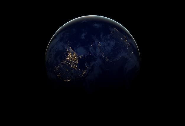 Planeet aarde in donkere ruimte.