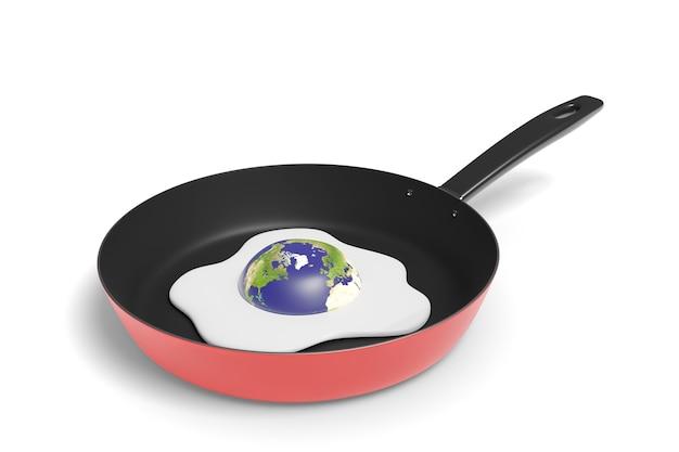 Planeet aarde koken als een gebakken ei in een koekenpan geïsoleerd op een witte achtergrond. opwarming van de aarde concept. 3d illustratie.