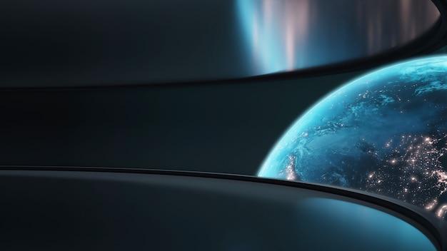 Planeet aarde met gloeiend licht van steden en atmosfeer.