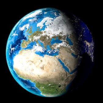 Planeet aarde met wolken, europa en afrika. zwarte achtergrond.