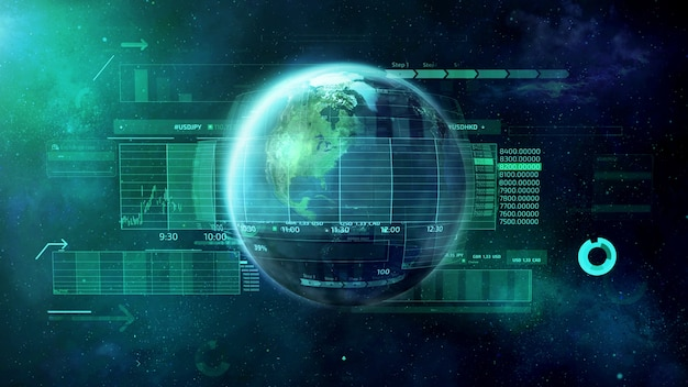 Planeet aarde omgeven door veel infographics en gegevens.