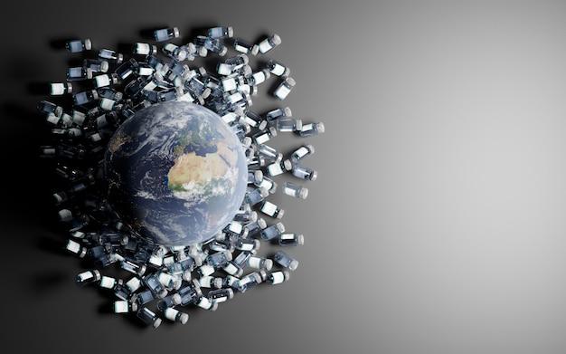 Planeet aarde over vele bussen met coronavirusvaccin met een grijze achtergrond en ruimte voor tekst.