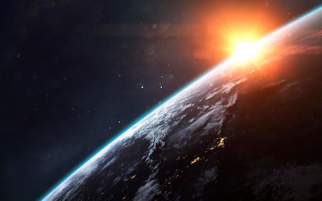 Planeet aarde. science fiction, verkenning van de ruimte. elementen van deze afbeelding geleverd door nasa