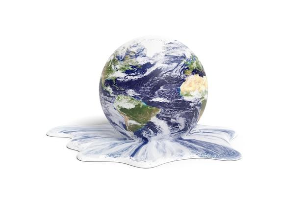 Planeet aarde smelten geïsoleerd op een witte achtergrond. opwarming van de aarde concept. 3d illustratie.