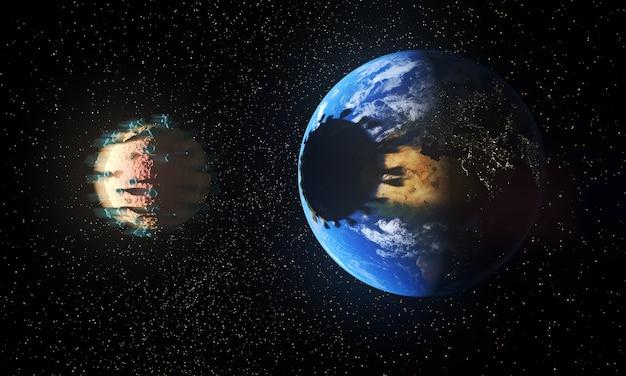 Planeet aarde wordt overschaduwd door een virus