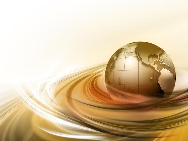 Planeet in de stralen abstracte technische achtergrond