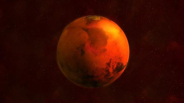 Planeet mars vanuit de ruimte met merrie acidalium