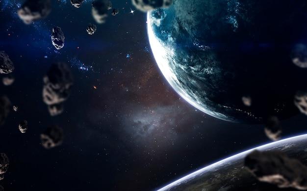 Planeten, gloeiende sterren en asteroïden. deep space-afbeelding, sciencefictionfantasie in hoge resolutie, ideaal voor behang en print. elementen van deze afbeelding geleverd door nasa