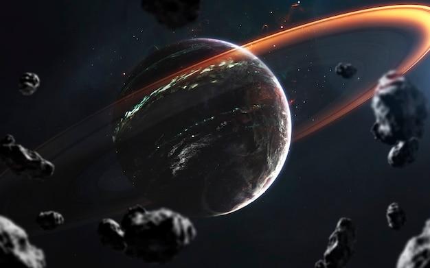 Planeten in de diepe ruimte, geweldig sciencefictionbehang, kosmisch landschap. elementen van deze afbeelding geleverd door nasa