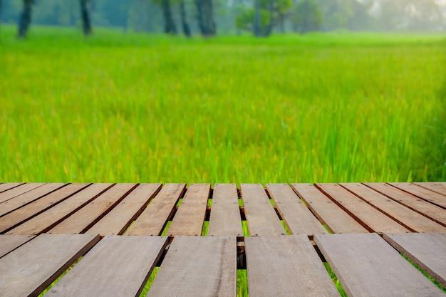 Plank houten tafel op rijstvelden in de ochtend.