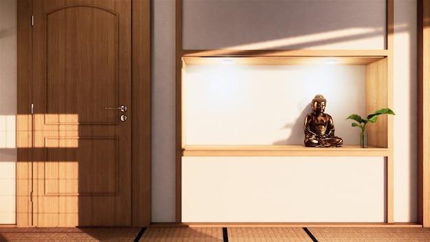 Plank muur ontwerp zen interieur van woonkamer japanse stijl. 3d-weergave