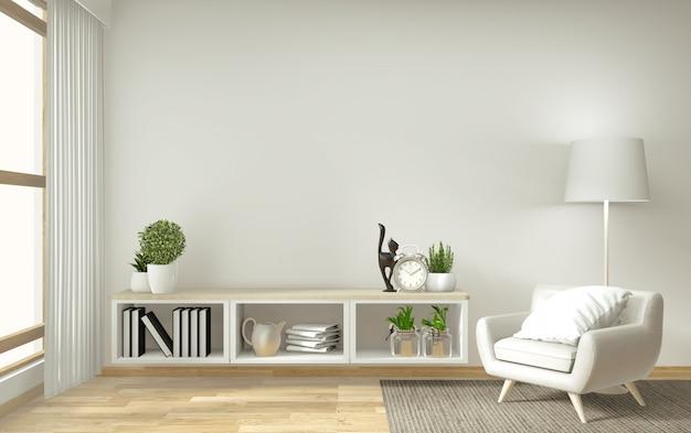 Plank tv in zen moderne lege ruimte