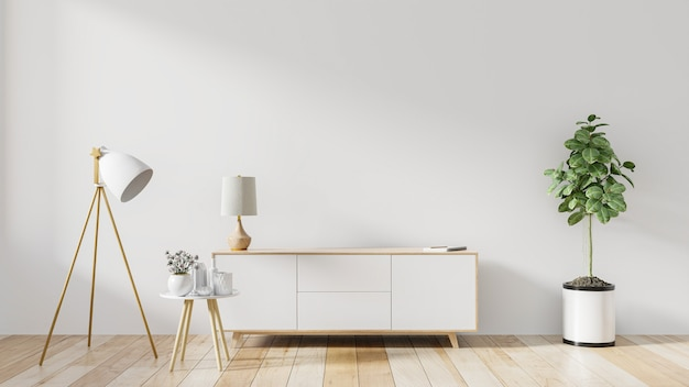 Plank voor tv in moderne lege witte kamer, 3d-rendering