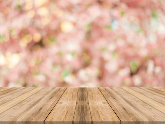 Planken met bloemen achtergrond