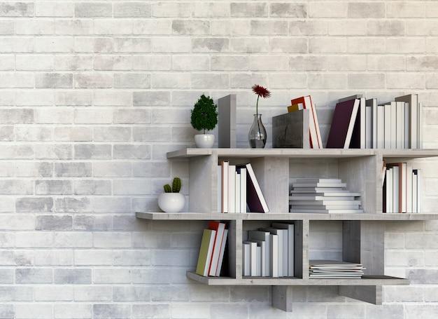 Planken met boeken op bakstenen muur. 3d-rendering
