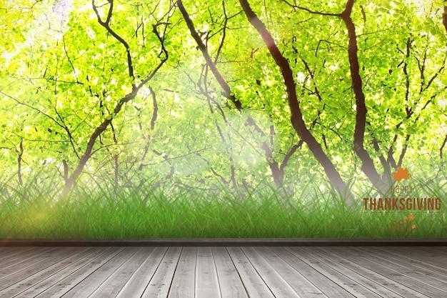 Planken met bomen achtergrond