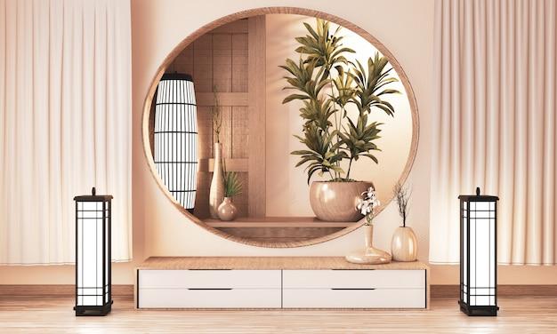 Plankenkast houten op muurruimte zen stijl en houten decoraion, aardetoon. 3d-rendering