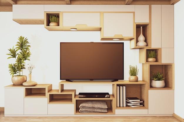 Plankenkasten kast tv houten japans ontwerp op kamer minimale interieur. 3d-rendering