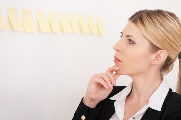 Plannen van haar werk. zijaanzicht van zelfverzekerde volwassen zakenvrouw die de zelfklevende notities aan de muur wijst