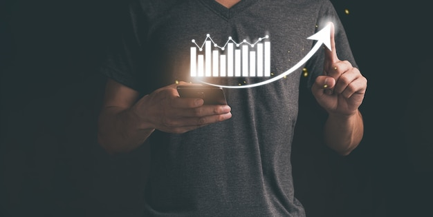 Planning en strategie bedrijfsgroei virtuele hologramaandelen investeren in handelsillustratie