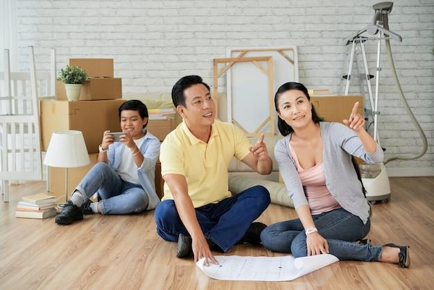 Planning van de decoratie van een nieuw appartement