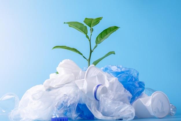 Plant groeit tussen plastic afval. flessen en tassen. milieubescherming en sorteren van afval