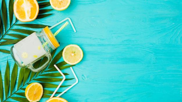 Plant verlaat in de buurt van citrusvruchten en glas met rietjes