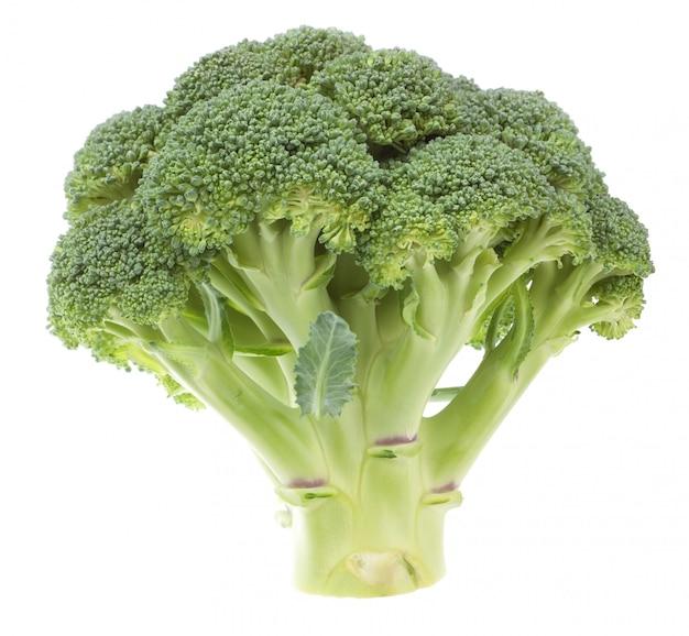 Plantaardige broccoli op een witte muur. detailopname.