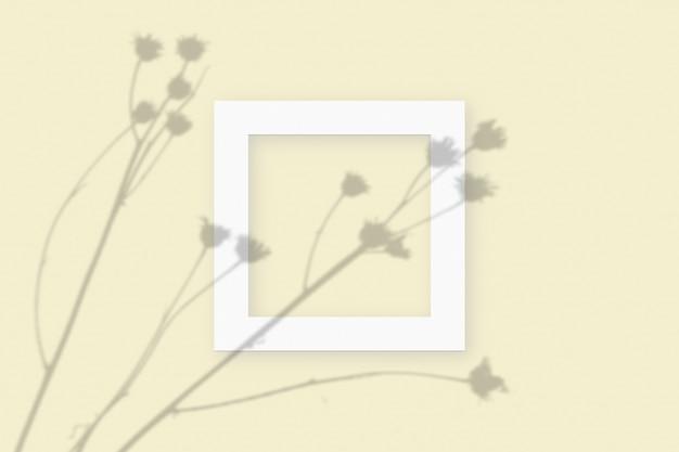 Plantaardige schaduwen bovenop een vierkant frame van getextureerd wit papier op een gele tafelachtergrond