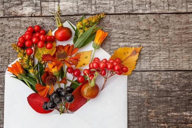 Planten bessen bloemen kleurrijke bladeren in mail envelop op houten achtergrond