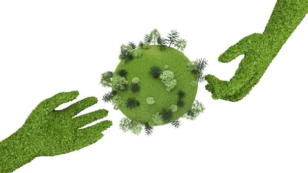 Planten in de vorm van hand getrokken naar de planeet met bomen