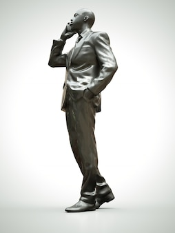 Plastic figuur van een zwarte man in een pak praten aan de telefoon