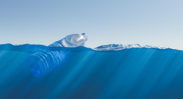 Plastic fles drijvend in de zee met uitzicht op de zeebodem met bijtende stoffen. concept van vervuiling, ecologie, recycling en milieu. 3d-rendering
