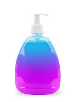 Plastic fles met vloeibare zeep op een witte achtergrond