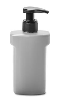 Plastic grijze pompfles geïsoleerd op een witte achtergrond met uitknippad