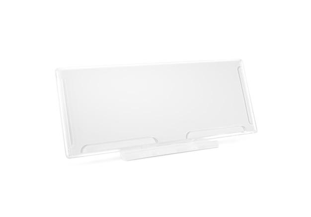 Plastic papieren houderspot op tribune op geïsoleerd bureau