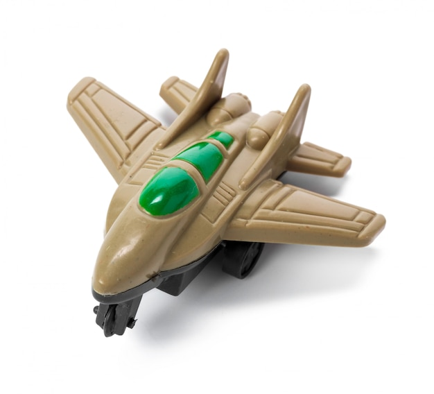 Plastic toy plane op witte achtergrond