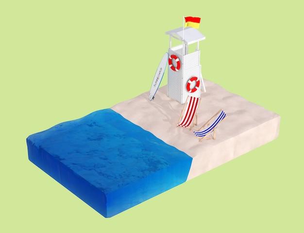 Plat isometrisch stuk strand met badmeestertoren, strandstoelen en surfplank op een groene achtergrond. 3d-rendering