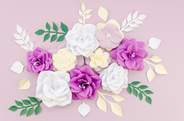 Plat lag assortiment met prachtige bloemen
