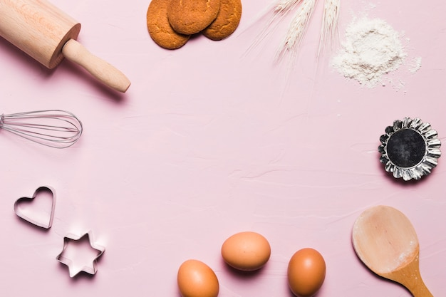 Plat lag bakkerij samenstelling met copyspace