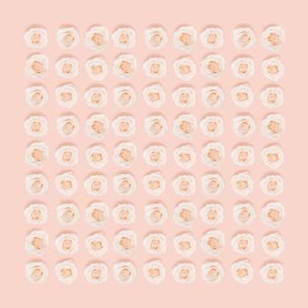 Plat lag bloemmotief van roze wit roze bloemen pastel gekleurde, creatieve lay-out, abstracte milieu-achtergrond.