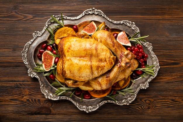 Plat lag feestelijke kerstmaaltijd samenstelling