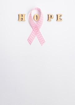 Plat lag frame met roze lint en kopie-ruimte